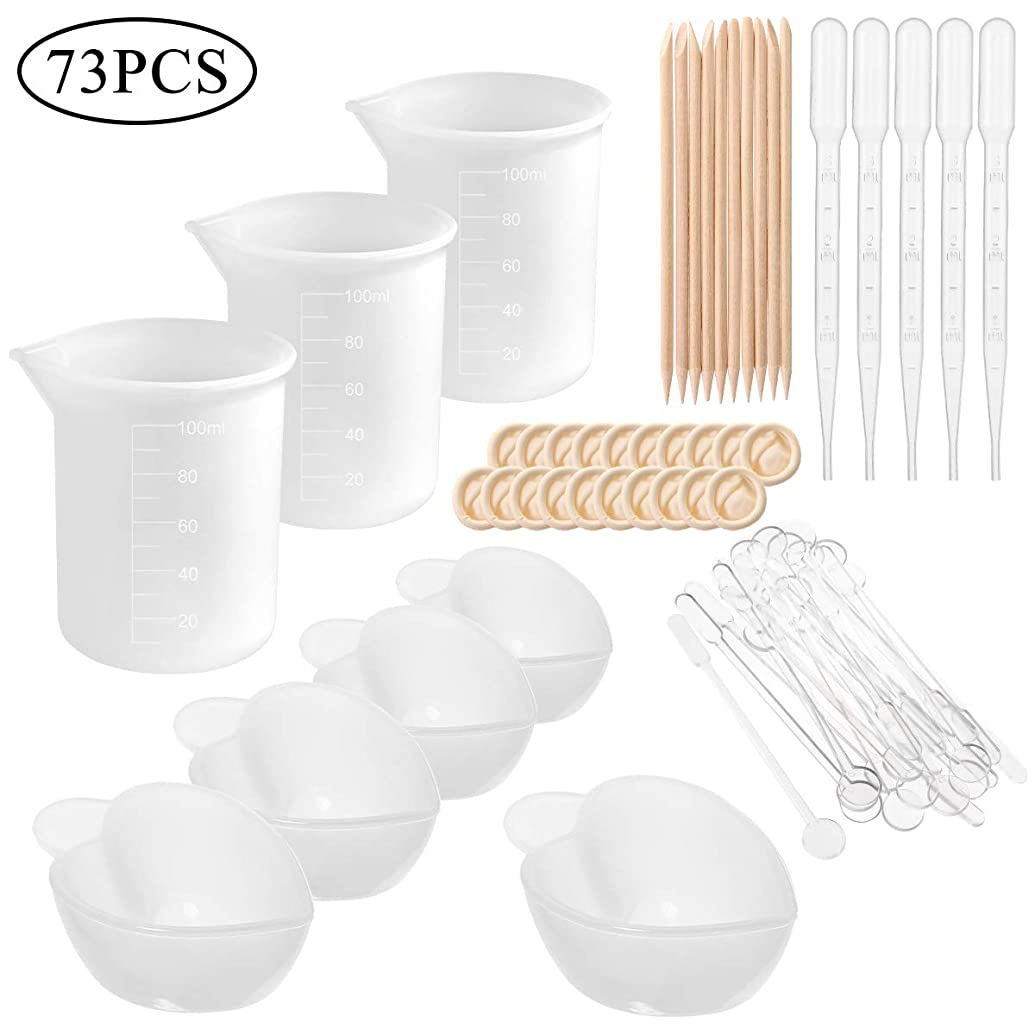 Epoxy Resin Tools Kit, 6 Type of Silicone Resin Tool Included Measuring Cup, Nonstick Silicone Mixing Cups, Glue Tools Sticks, Dropping Pipette, plastic stirrer and Finger Cots for Casting Mold Making