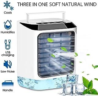Aire acondicionado portátil de escritorio del USB Space Fan Cooler, mini refrigerador evaporativo humidificador de aire, la velocidad del viento 3 de escritorio del ventilador del acondicionador de ai
