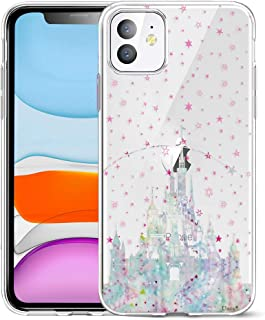 Unov Case Clear with Design for iPhone 11 Case Slim Protective Soft TPU Bumper Embossed Pattern Cover 6.1 Inch (Watercolor Castle)