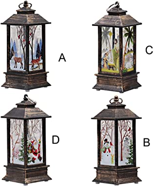 Decorative Lighted Christmas Lanterns for Home, LED Christmas Candle Holder, Candle Lantern Christmas Centerpieces Battery Op
