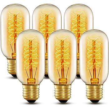 220V e attacco E27 a luce bianca calda in confezione da 6 pezzi Lampadine Edison vintage da 60 Watt T45 60.0W