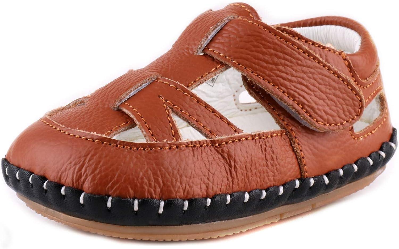 LONSOEN Baby Toddler Girls Leather Sandals Summer First Walking