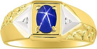 RYLOS - Anillo para hombre con forma ovalada de gema cabujón y diamantes brillantes auténticos en plata chapada en oro ama...