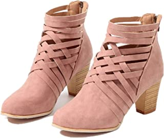e46b44812da Botines Mujer Tacon Alto, Cuero Botas 7 Cm Otoño Zapatos De Botas Comodos  Fiesta Marrón