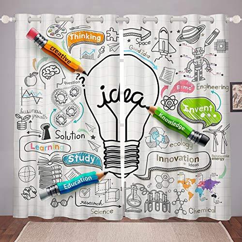 "Science Window Drapes School Theme Window Curtains Brainstorming Good Ideas Curtain Panels For Kids Boys Girls Study Innovation Education Knowledge Window Treatments Living Room Decor 42W""x63L"""