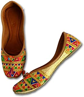 YZBuyer Cultural Punjabi Juttis for Women Traditional Multi Color Embroidered Mojaris for Every Occasion