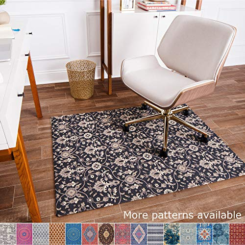 Anji Mountain Chair Mat Rug'd Collection, 1/2' Thick - For All Surfaces, Alesund , Gray Tone Tribal Stripes