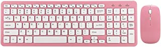 Wireless Mouse Keyboard Combo Set Office Gaming Mice Keyboard for Notebook Computer 3-Speed Micro Receiver for Laptop (Pink)