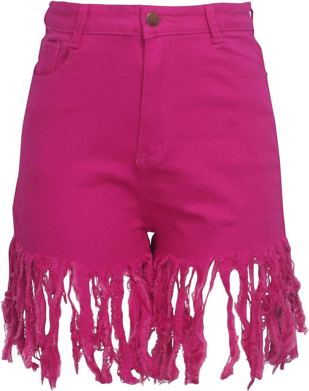 High Waist Chicago Mall Tassels Max 57% OFF Jean Shorts for Raw Summer Stretchy Women Hem