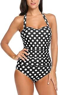 Qearal 50s Retro Vintage Polka Dot Halter One Piece Monokini Swimsuit