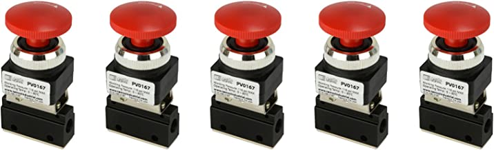 5 Qty Latching Push Button Normally Closed Pneumatic Air Control Valve 2 Port 2 Way 2 Position 1/8