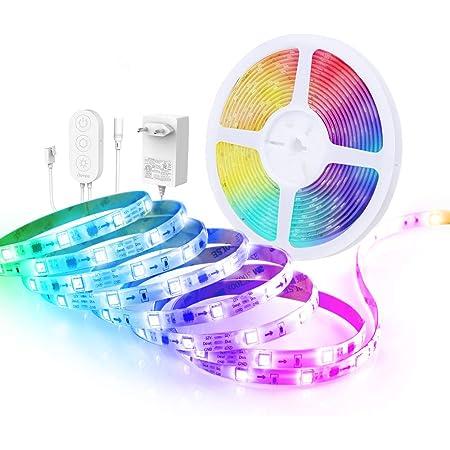 Govee Tira LED 5m RGBIC, Luces LED Habitacion Bluetooth Arcoíris, Control de App y Caja de Control, Modo de Música y Escena, 16 Milliones de Colores de DIY para Fiesta, Bar, Habitación, PC Gaming
