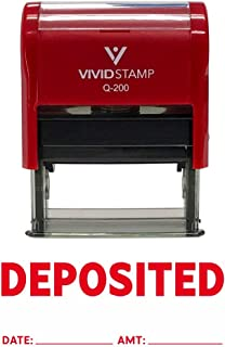 DEPOSITED with Date Amount Line Self Inking Rubber Stamp (Red Ink) - Medium