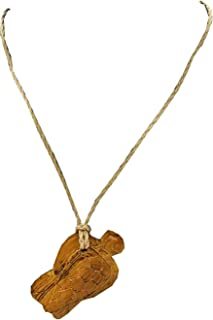 """Mauna Kai Hawaiian Turtle Honu Hand Carved All Natural Robles Wood 32"""" Adjustable Braided Cord Necklace - 1.75"""" Pendant"""