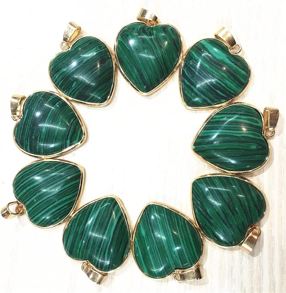 12pcs Malachite Stone Gold Side Charms Heart Neck Pendants Shape Easy-to-use Max 55% OFF