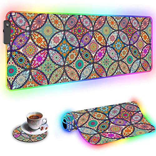 RGB Large Gaming Mouse Pad,Wkooff Led Soft Non-Slip Rubber Base Glowing Gamer Mousepad Gaming Desk Mat 31.5x11.8 Inch and Coffee Coaster,Mandala Flower