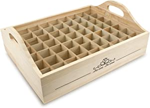 Serene Stream 63 Slots Wooden Essential Oil Storage Tray for 5ml, 10ml, 15ml, 30ml and Other Bottle Sizes