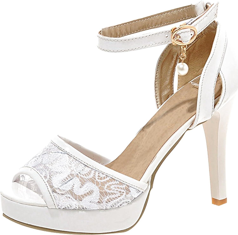Calaier Womens Salbj Open-Toe 10.5CM Stiletto Buckle Sandals shoes
