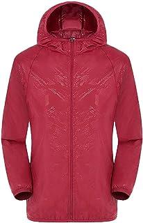 UJUNAOR Giacche Antivento Antisole per Uomo/Donna, Manica Lunga da Esterni Ultra-Light Rainproof Windbreaker Tops Abbiglia...