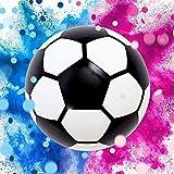 Balón de fútbol revelador de género niña o niño, kit completo para Baby Shower con 2 paquetes de polvos de colores y 2 paquetes de confeti rosa y azul, para bebé sorpresa fútbol