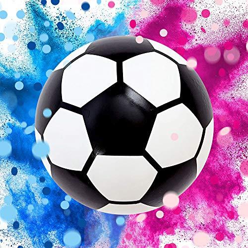Fußball für Mädchen oder Jungen, Komplett-Set für Babyparty mit 2 Packungen buntem Puder und 2 Paketen Konfetti, Rosa und Blau, Design hergestellt in Frankreich, Baby Überraschung Fußball