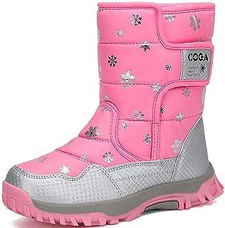 Cattior Little Kid Patchwork Warm Kids Boots Waterproof Boots 11 M, Pink