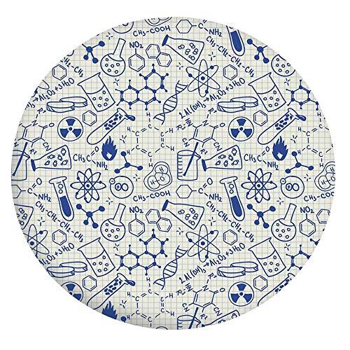 Mantel resistente a las manchas, diseño de geometría científica química, matemática, Nerd Geek Genius, para mesas redondas de 56 a 60 pulgadas, para comedor y fiesta, azul marino y blanco