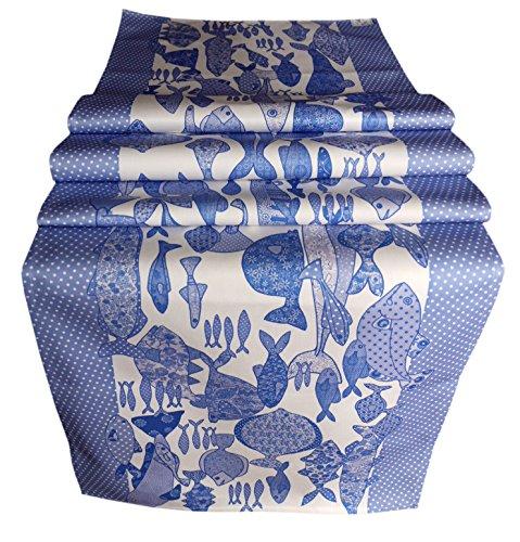 Mollymac Tafelloper met blauwe vis – Ocean tafeldecoratie – Fantastische kwaliteit cadeau voor seaside huizen – stijlvol middelpunt – Made in UK – 100% katoenen boor, 182,9 x 43,2 cm 183 x 43 cm
