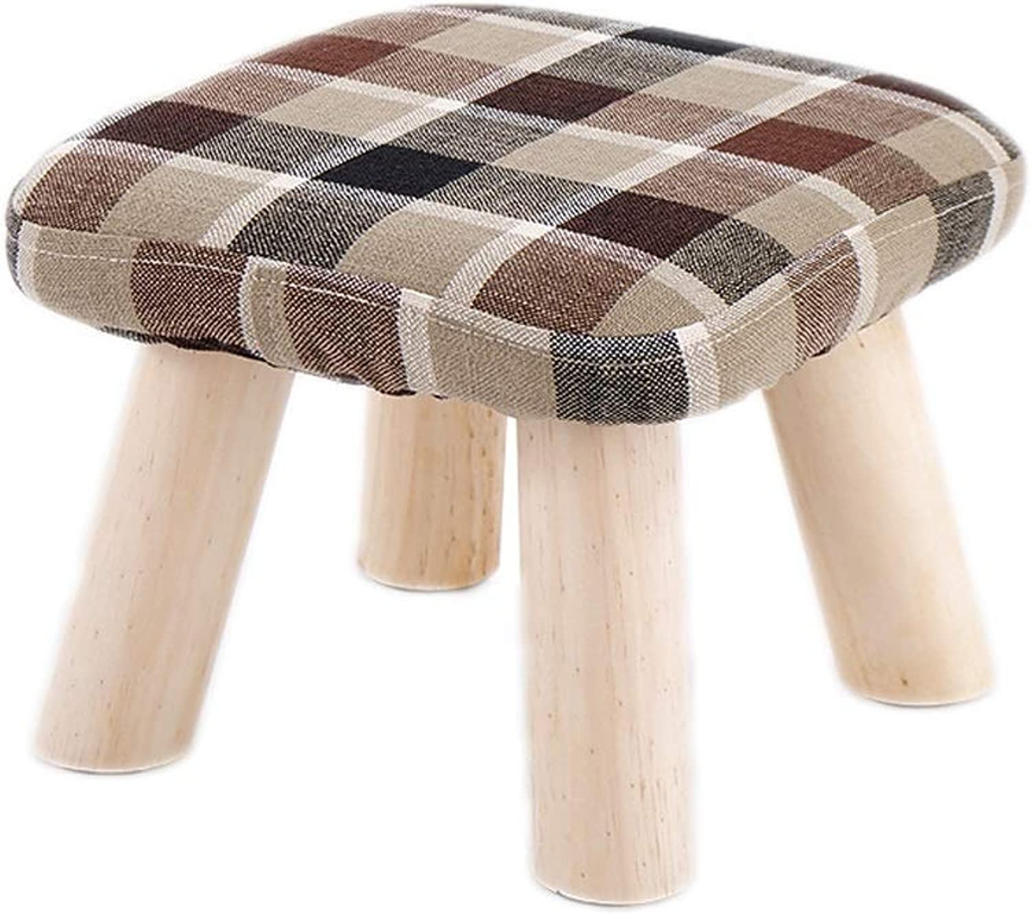 Storage Stool Footstool Lattice Wooden Couch Pouffe Chair Stool Home Upholstered Footchair Footstool LEBAO (color   Brown)