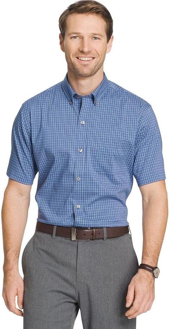 Van Heusen Men's Flex Classic Fit Plaid Short Sleeve Button Down Shirt