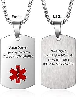Medical Alert Necklace for Men Women Stainless Steel Engraved Medical ID Tag Emergency Med Alert Necklace for Men & Women Medical Alert Jewelry