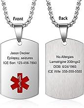 Diabetes Medical Alert Necklace \u2022 Medical ID Necklace \u2022 Custom Medical Bar \u2022 Medical Information \u2022 Personalized Medical Alert \u2022 Allergies