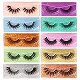 Pleell False Eyelashes 10 Styles Mixed Medium Length Fake Lashes Bulk 10 Pack 3D Natural Wispies Faux Mink Lashes with 10 Glitter Portable Eyelash Boxes