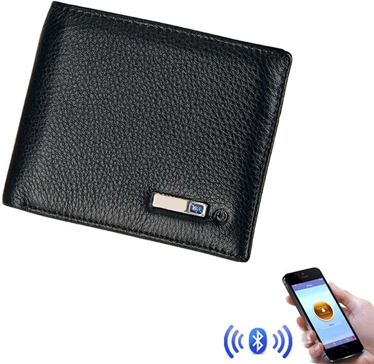 HWL Smart blueeetooth AntiTheft Slim Wallet Cowhide Leather Bifold Purse Support iPhone and Android