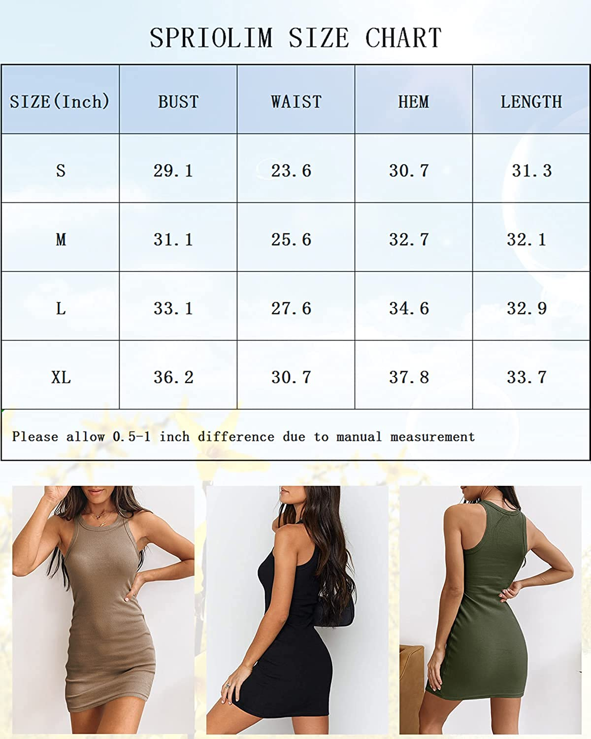 Spriolim Women's Bodycon Dresses Ribbed Solid Color Crew Neck Casual Short Dresses