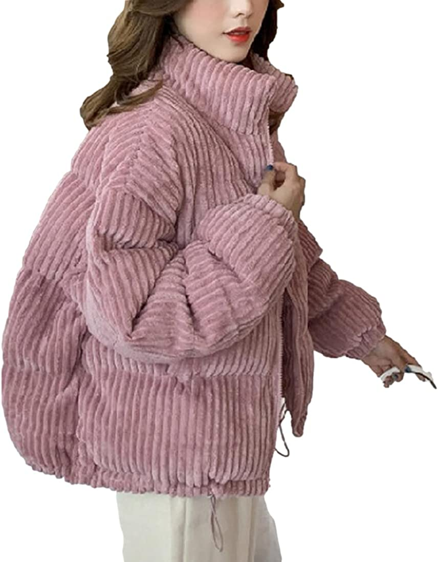 SeekMe Women's Cropped Corduroy Puffer Jacket Full Zip Stand Collar Lightweight Bubble Down Coat
