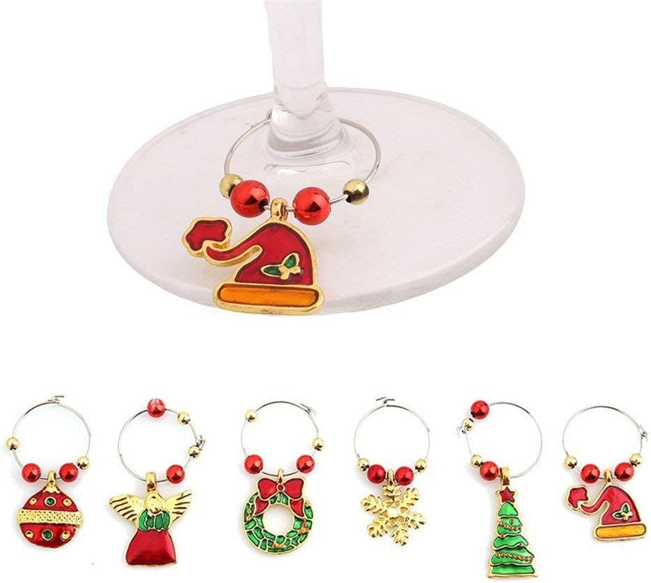 Yevison Set of 6 Christmas Series Marker Glass Sale Wine Charms Tags Now free shipping