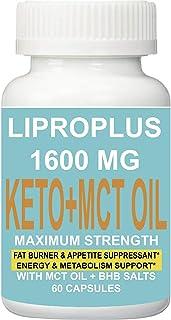 1 Bottle Lipro Plus Best Keto + MCT Oil Diet Pills 1600MG - Advanced Weight Loss 60 Capsules. Fat Burner + Appetite SUPPRE...