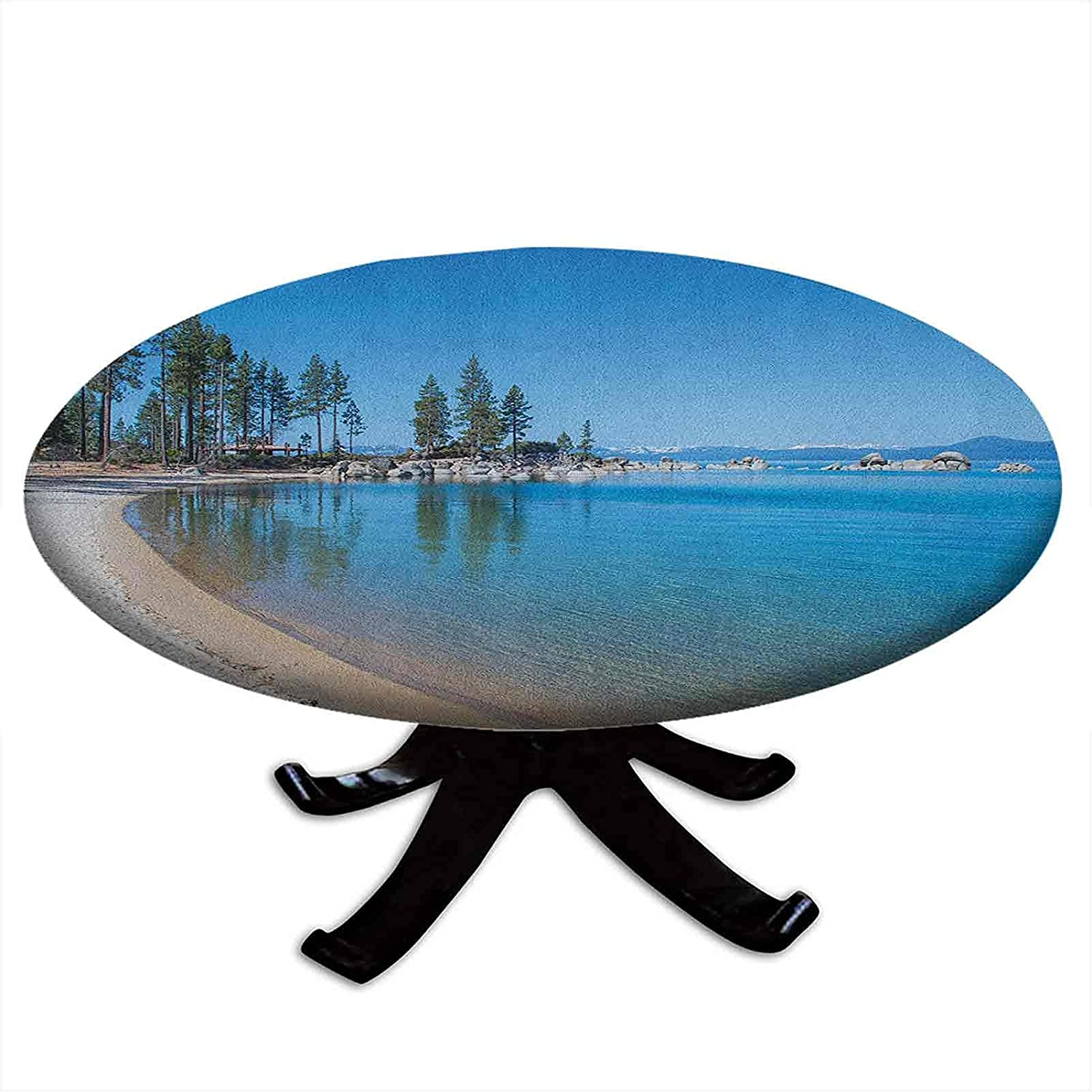 Ranking TOP1 Round Selling rankings Fitted Lake Tahoe Tablecloth in Shore Clear Water of