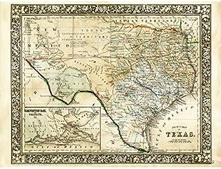 Mitchell 1860 Carte du Texas Comté des États-Unis Impression sur toile de qualité supérieure Décoration murale