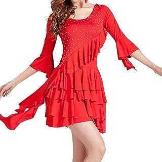 Ruffle Rhinestone Latin American Dancing Outfit Dresses Costumes Sleeve