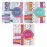 3 blocs de papel de 20 hojas cada uno, impresas porambos lados, papel de diseño, papel para manualidades, 60hojas, 24diseños