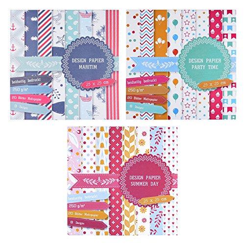 EAST-WEST Trading 3 x Motivblock mit je 20 Blättern beidseitig Bedruckt, Designpapier, Bastelpapier, Dekorpapier, 60 Blätter, 24 Designs