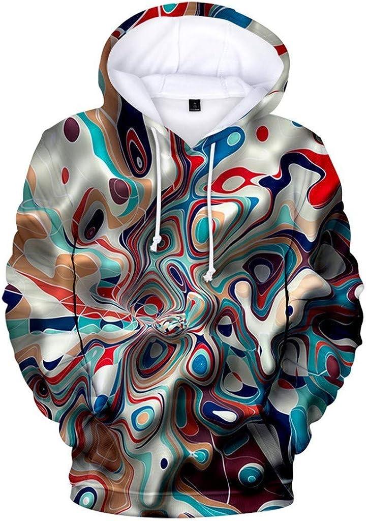 Misaky Men's Hoodies Unisex Cool 3D Color Graffiti Print Pocket Long Sleeve Hooded Pullover Sweatshirts Tops
