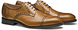 The Newton: Hand Crafted Men's Leather Brogued Cap-Toe Dress Shoe