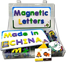 X-Furpartoy 182 Pcs ABC Fridge Magnetic Childrens Letters Set with Magnetic Whiteboard, Magnetic Alphabet Block Uppercase Lowercase Letters Learning Toys Set for Kids Toddlers