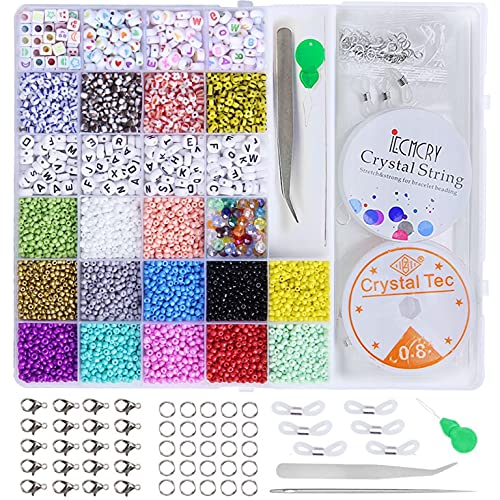 3mm Perline Vetro Lettere Perline,Perline Colorate Braccialetti Fai da Te Perline Lettere con Elastic Thread Kit Creare Gioielli per Braccialetti, Collane, Bigiotteria