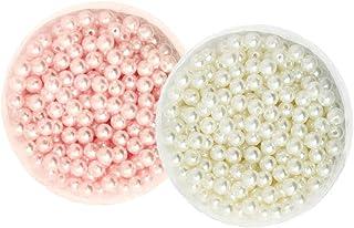 Miçangas de pérola de imitação redonda com brilho acetinado de 6 mm Homyl 1000 peças com orifício para fazer joias rosa be...