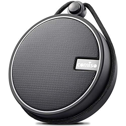 COMISO Bluetooth Dusche Lautsprecher IPX7 Wasserdicht Tragbare Wireless Bluetooth Lautsprecher mit HD Sound, Saugnapf und TF Karte für Strand, Pool, Küche & Home
