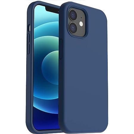 """ORNARTO Funda para iPhone Mini 5,4"""" de Silicona Líquida Reforzada a Prueba de Golpes, Protección de Cuerpo Completo de Goma Antichoque Bumper de Protección Case Azul Marino"""